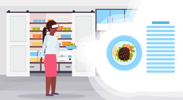 african american woman holding fresh fruit salad wearing digital glasses virtual reality pork meat grilled with vegetables headset vision concept modern kitchen interior flat horizontal vector art illustration