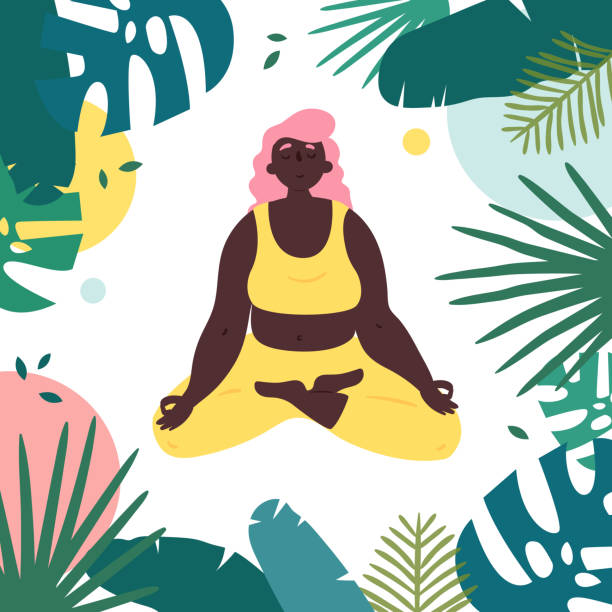 African american woman in lotus yoga pose African american woman in lotus yoga position. Body positive girl with black skin meditates and relax in tropical surrounding.  Female in harmony with herself, mental and body health. Vector flat meditation stock illustrations
