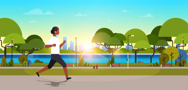 african american woman jogging outdoors modern public park girl headphones running sport activity concept cityscape sunset background horizontal banner flat african american woman jogging outdoors modern public park girl headphones running sport activity concept cityscape sunset background horizontal banner flat vector illustration waterfront stock illustrations