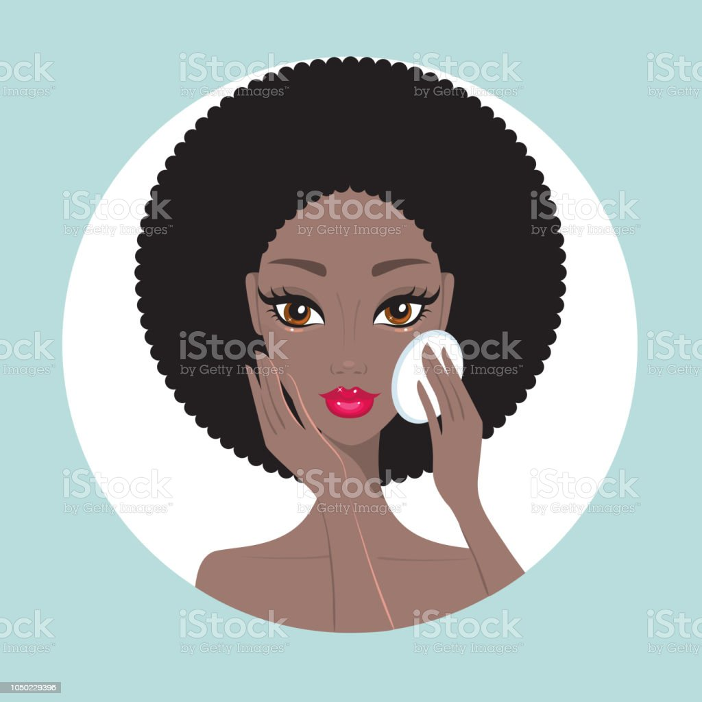 African American woman removing make up look happy and beautiful