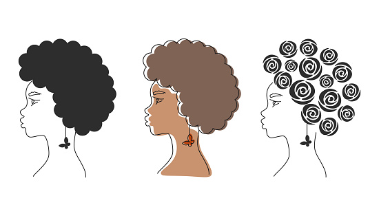 African American woman set with a butterfly earring. Line art female portraits. Curly hair. Abstract woman.