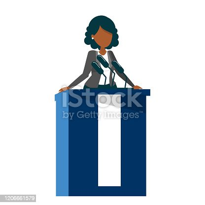 African american woman standing at the tribune vector isolated. Female candidate for president speaking to the microphone. Politician speaker.