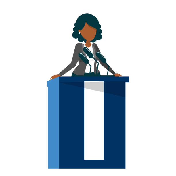 African american woman standing at the tribune African american woman standing at the tribune vector isolated. Female candidate for president speaking to the microphone. Politician speaker. candidate stock illustrations