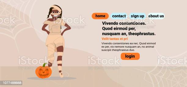 african american woman wear mummy costume happy halloween concept female cartoon character full length flat copy space horizontal vector illustration