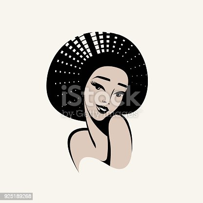 African American Woman With Big Volume Hairstyle And Nice
