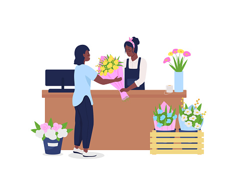 African american women buying and selling flowers flat color vector detailed character