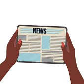 istock African American women hands holding digital tablet with Newspaper isolated on white background. Reading periodic ibn cyberspace, online. 1269234276