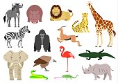 African animal element set on white background