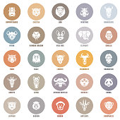 Head icons. Set of African animals