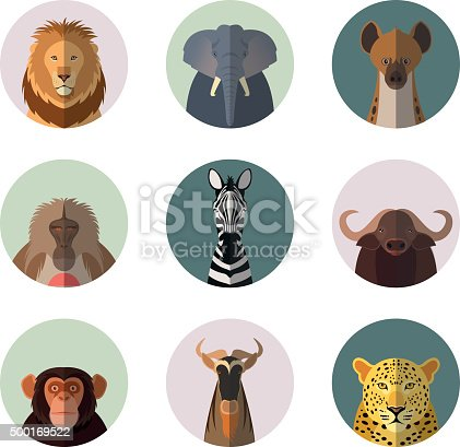 Vector  image of african animal round flat icons
