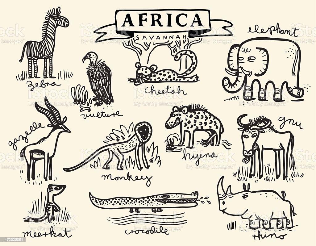 African animal set 2 royalty-free stock vector art