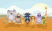 A snapshot of some african animals, a cheetah, african elephant, rhino, fennec fox, cape buffalo, lion, hippo, crocodile and a giraffe.