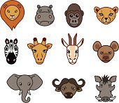 Animal faces in an african theme.
