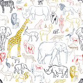 istock African animals and birds . Vector background. 1251244807