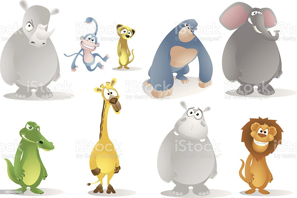 African Animals Cartoon Collection royalty-free stock vector art