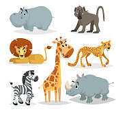 African animals cartoon set. Hippo, baboon monkey, lion, giraffe, cheetah, zebra and rhino. Zoo mammal collection. Vector illustrations isolated on white background.
