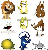 Fully editable vector illustration of a selection of cartoon african animals.