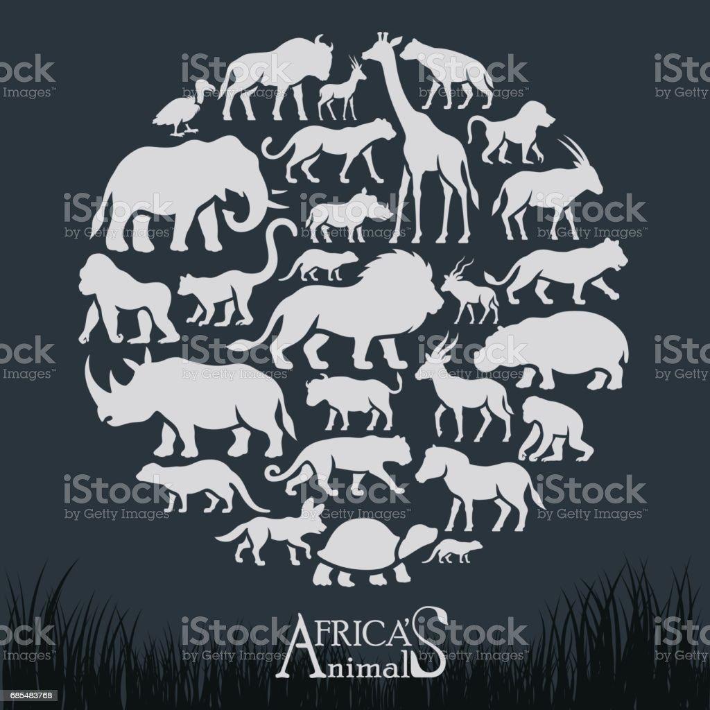 African Animals Collage vector art illustration
