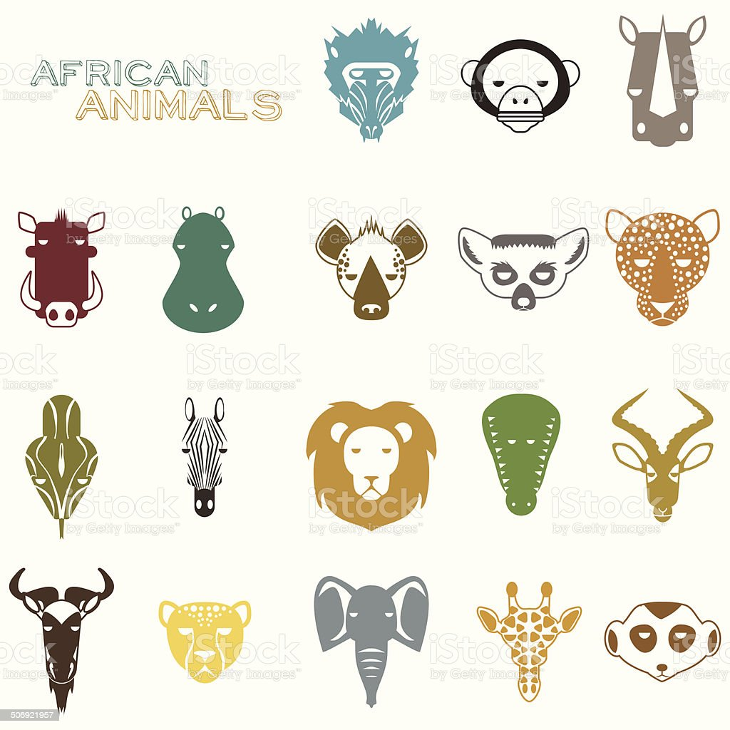 african animals color icons stock vector art 506921957 istock