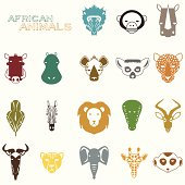 African Animals color icons