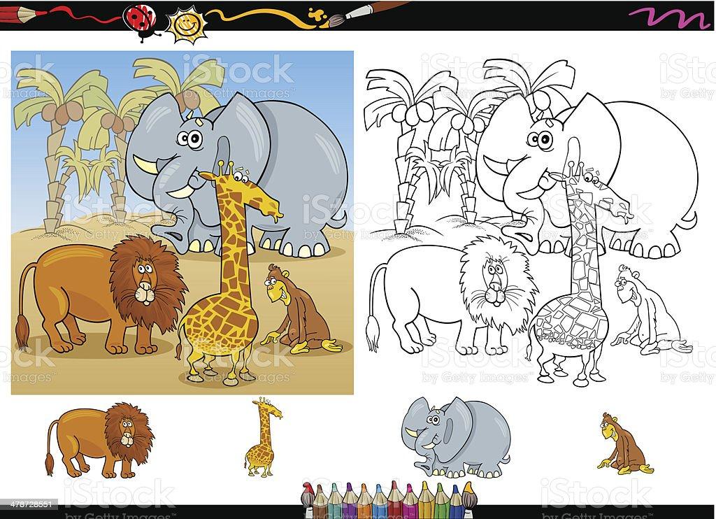 Ilustración de Animales Para Colorear Página De África y más banco ...