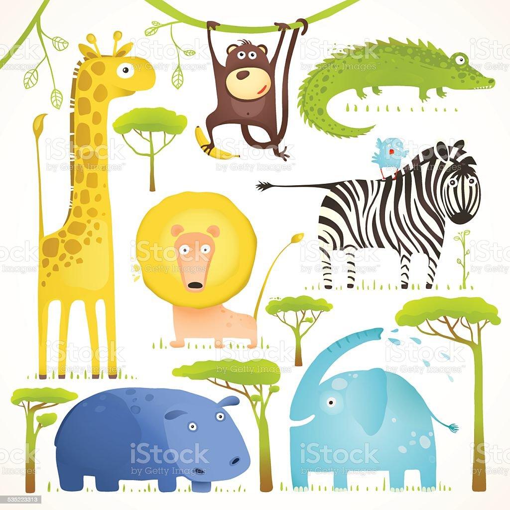 アフリカの動物コレクションの楽しいカットイラストクリップアート
