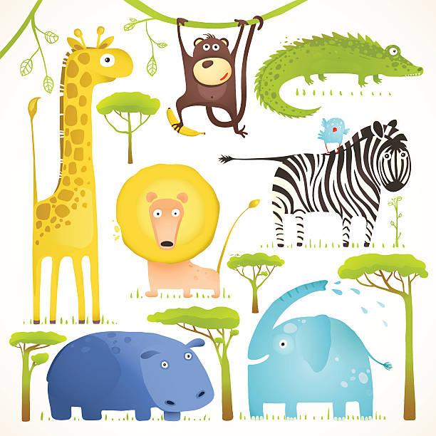 illustrazioni stock, clip art, cartoni animati e icone di tendenza di animali africani simpatico fumetto collezione di clip art - bambine africa