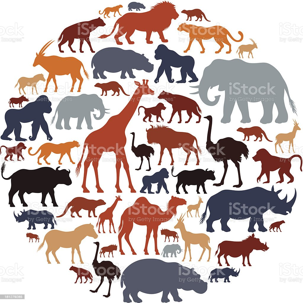 African Animals Icon Composition vector art illustration