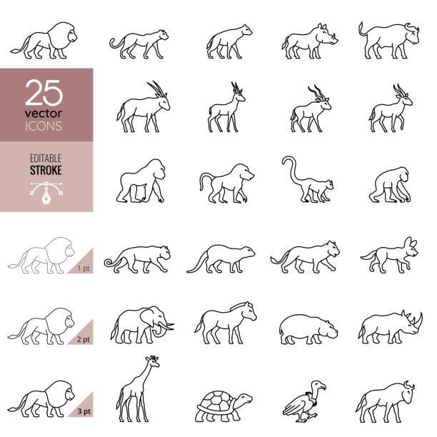 African Animals Icon Set. Editable Stroke. vector art illustration