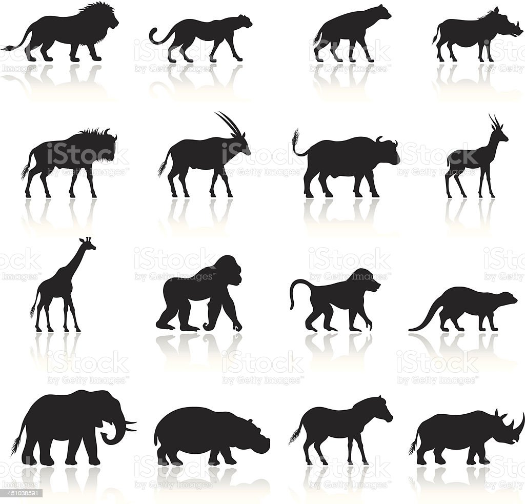 African Animals Icon Set vector art illustration