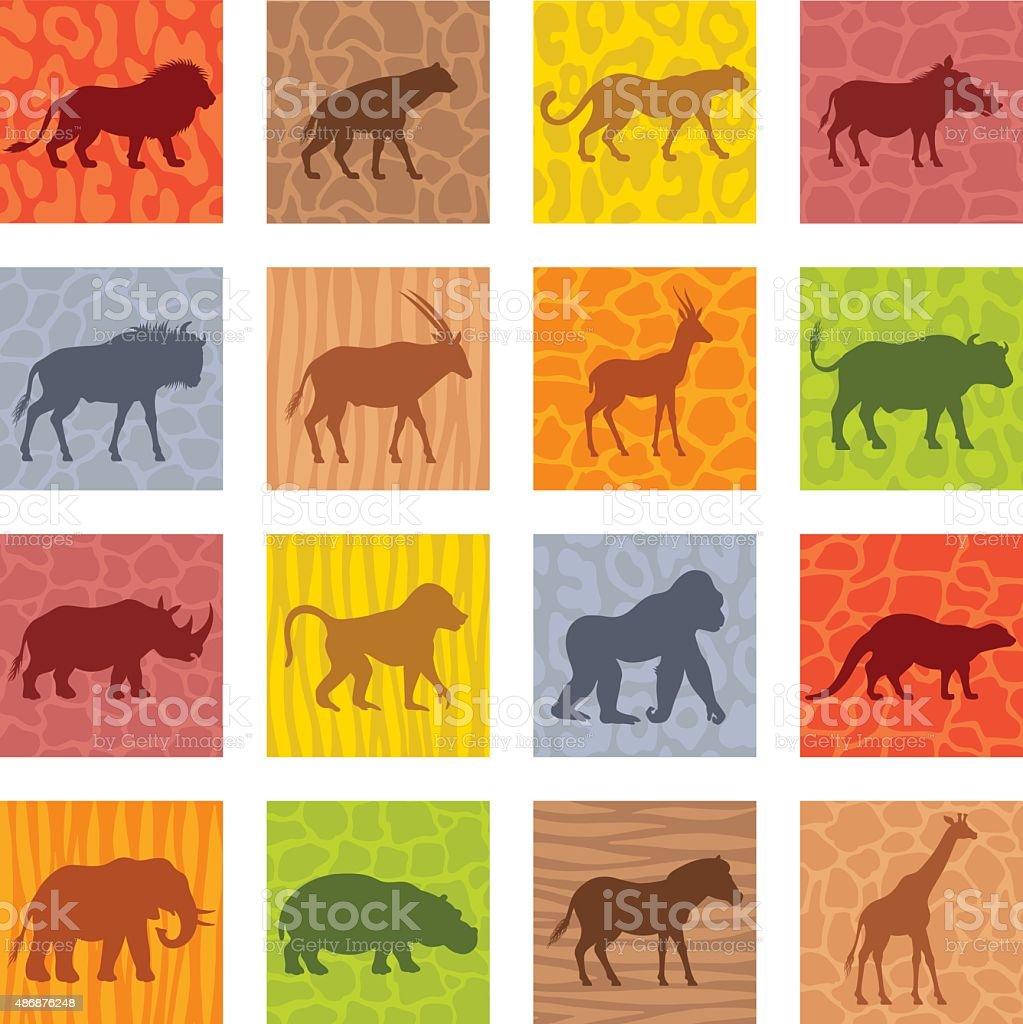 Afrikanische Tiere Icon-Set – Vektorgrafik