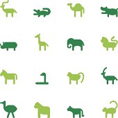 Vector file of African Animals Icons - Color Series related vector icons for your design or application.Raw style. Files included: vector EPS, JPG. See more in this series.