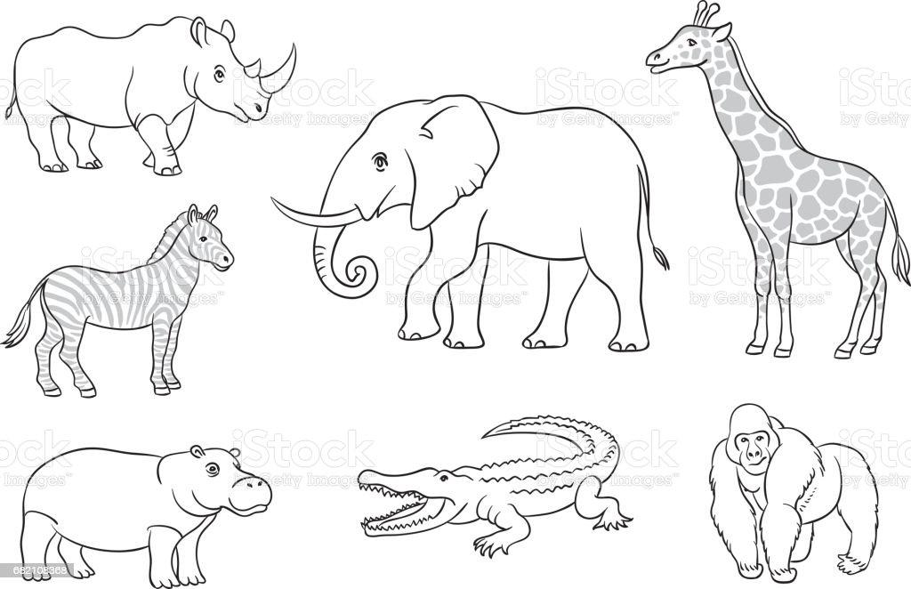 African animals in contours векторная иллюстрация