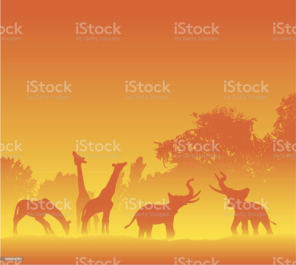 African animals in hot silhouette royalty-free stock vector art