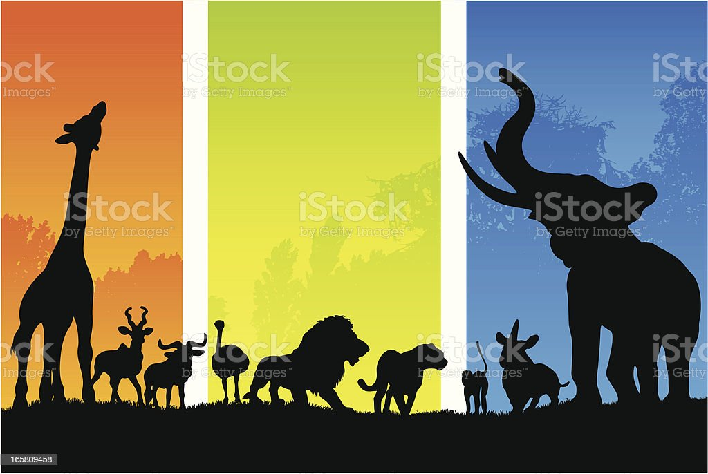 silhouette di animali in Africa dal mattino alla sera - illustrazione arte vettoriale