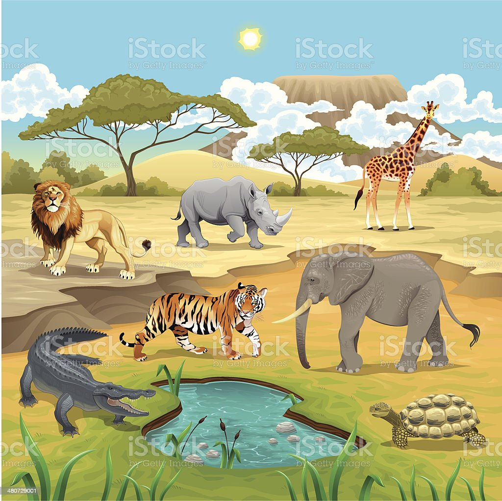 African animals in the nature. vector art illustration