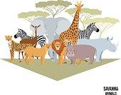 Savanna animal composition with trees. Elephant, rhino, giraffe, cheetah, zebra, lion hippo isolated African vector illustration