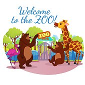 Invitation Banner, Welcome to Zoo Inscription, African and Forest Wild Animals Stand at Park Gate, Pink Flamingo, Giraffe and Funny Bears Inviting Visitors. Wildlife, Cartoon Flat Vector Illustration