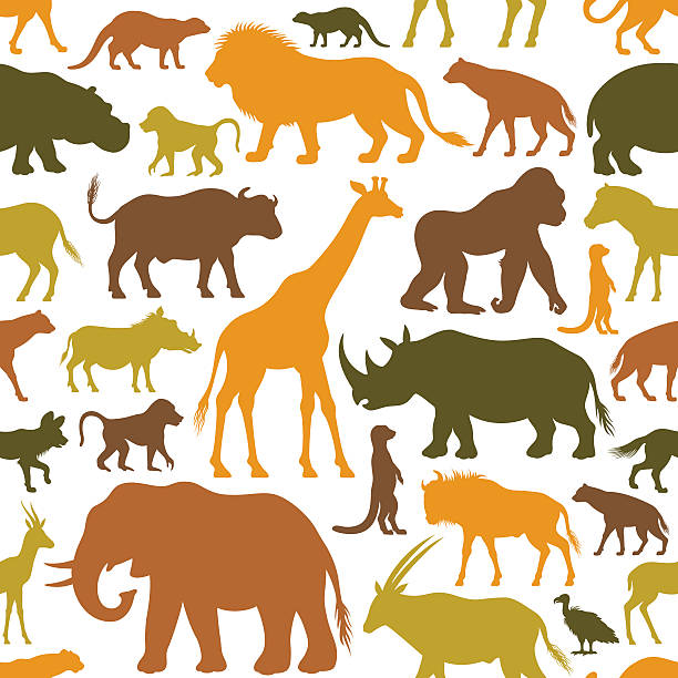 African Animals Pattern Repeatable pattern. High Resolution JPG,CS6 AI and Illustrator EPS 10 included. Very easy to edit. animal markings stock illustrations