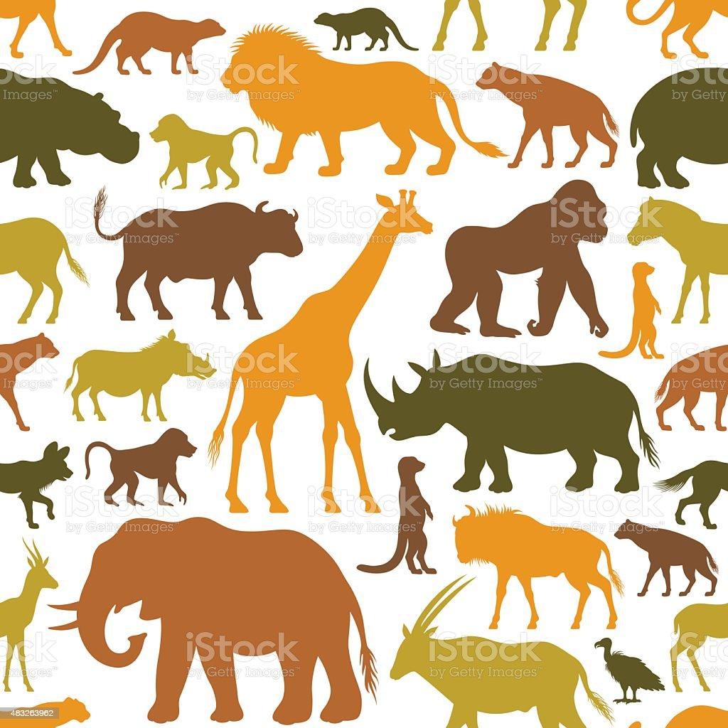 Afrikanische Tiere Muster – Vektorgrafik