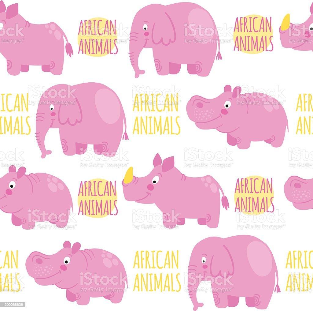 African animals pink vector seamless pattern: elephant, rhino, hippo....