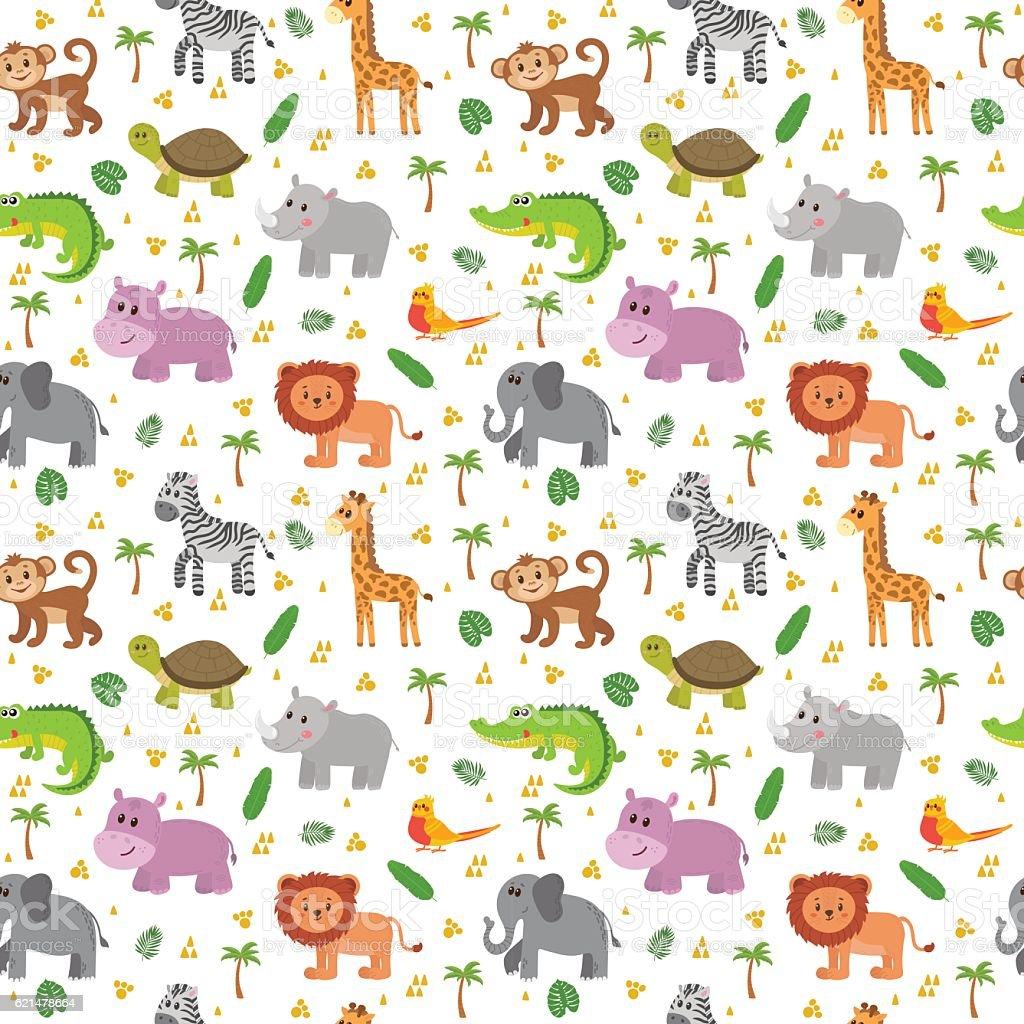 African animals seamless pattern. Cute cartoon childish animals. vector art illustration