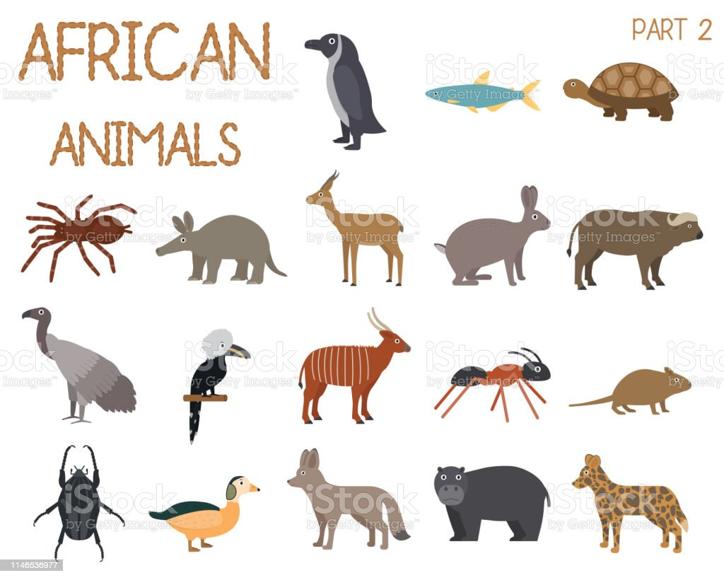 African animals set of icons in flat style, African fauna, dwarf...