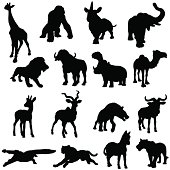 African animals silhouette collection