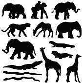 Vector silhouettes of many different African Animals.