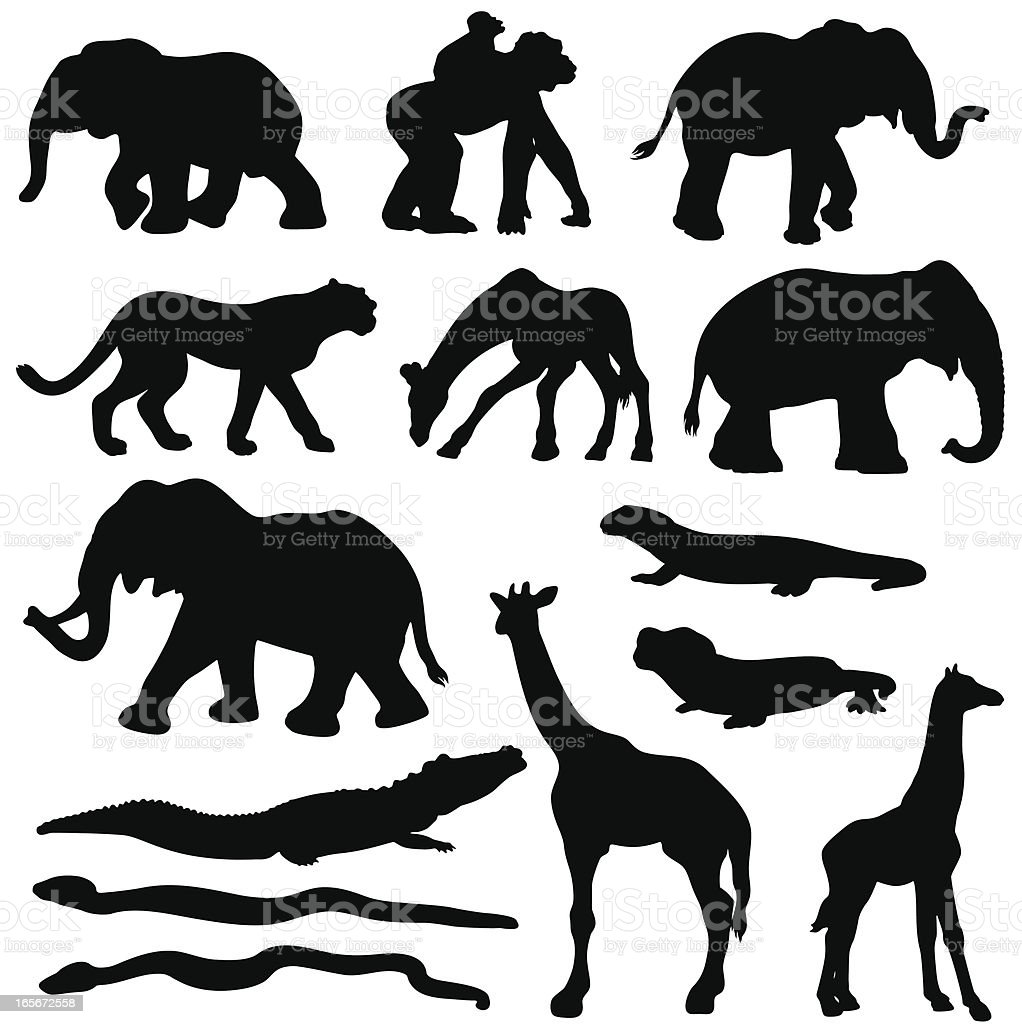 African animals silhouette set vector art illustration