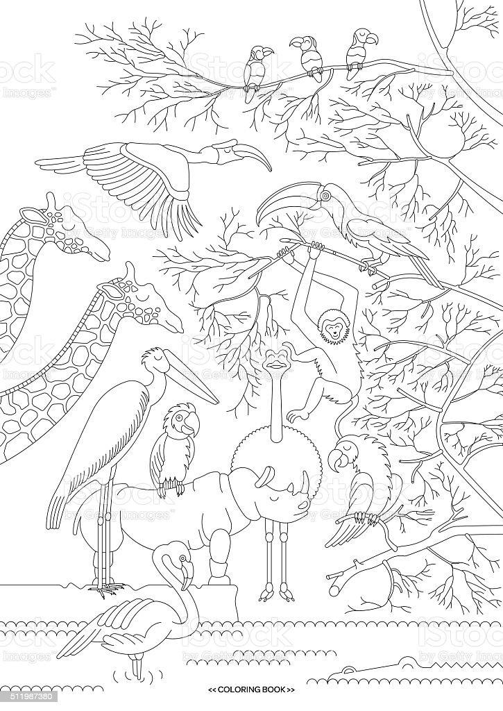 African animals sim 1 vector art illustration