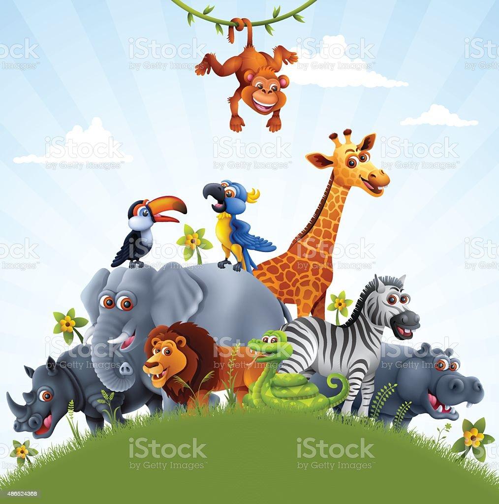 Animais africanos - ilustração de arte em vetor