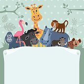 African Animals with Paper Scrol