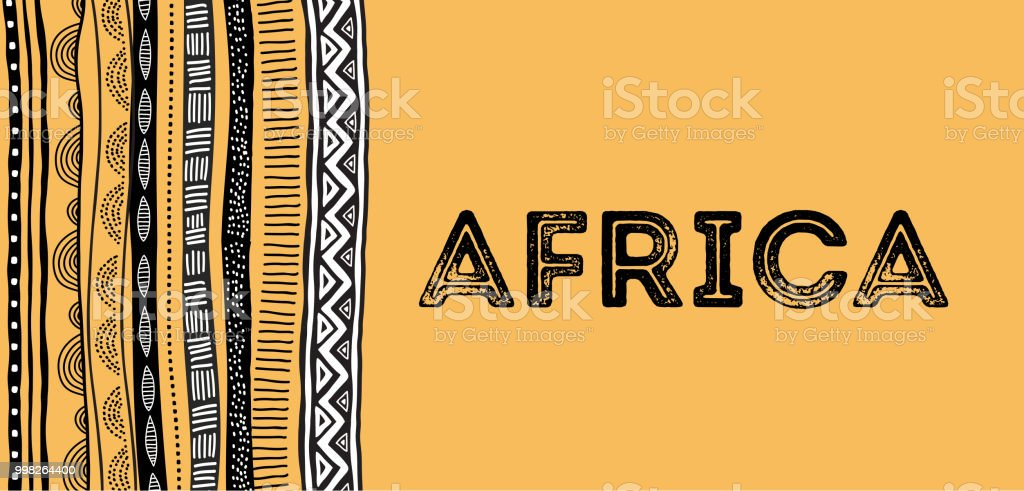 African background, flyer with tribal traditional grunge pattern vector art illustration